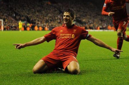 Steven Gerrard slide celebration